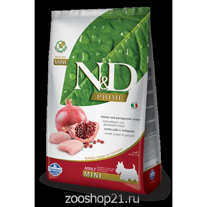 Корм Farmina N&D Chicken & Pomegranate Adult Mini беззерновой для взрослых собак мелких пород курица с гранатом, 2.5 кг